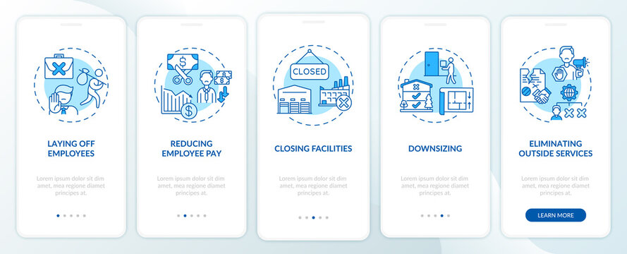 Cost cutting measures onboarding mobile app page screen with concepts. Business optimization walkthrough 5 steps graphic instructions. UI vector template with RGB color illustrations