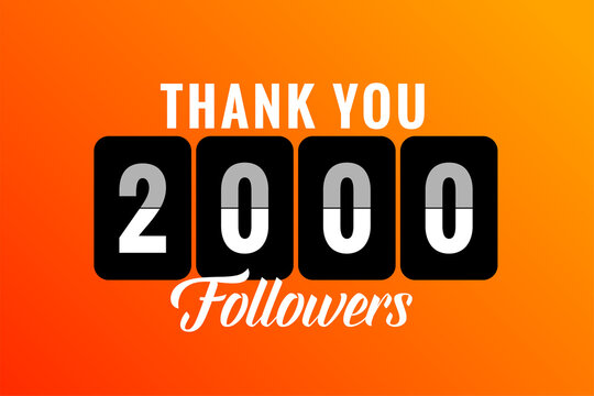 thank you 2000 social media followers and subscribers template