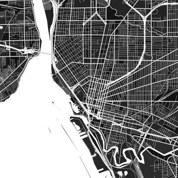 Buffalo, UnitedStates dark vector art map
