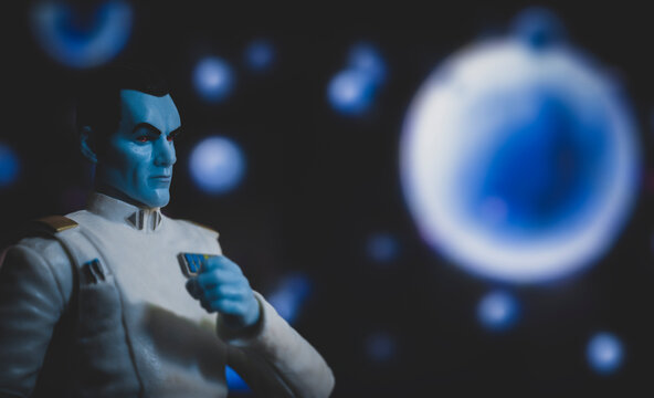 NEW YORK USA, JAN 20 2021: Portrait of Imperial Grand Admiral Thrawn  Mitth'raw'nuruodo from Star Wars Rebels cartoon series - Hasbro action figure