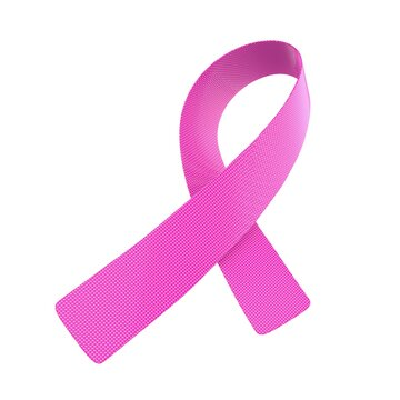 Pink textile Breast Cancer Ribbon isolated on white background. 3D rendering illustration