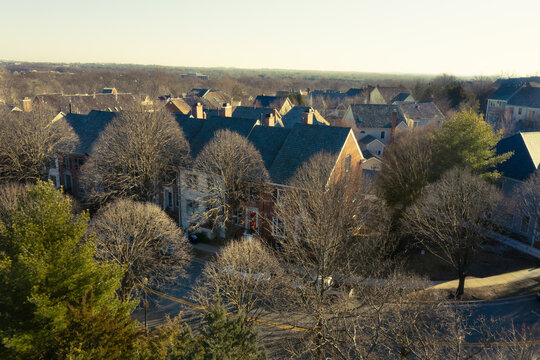Townhouses from above in winter