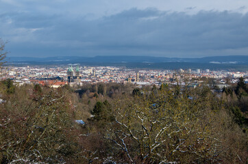 Panorama view of the World Heritage city of Bamberg on a sunny winter day. High quality photo