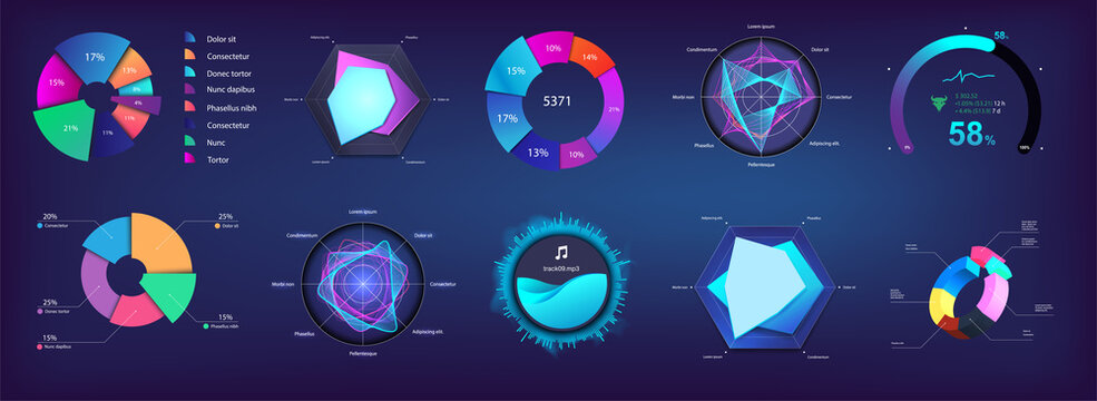 Modern Pie chart and circle infographic collection for Web, UI, UX, KIT and Mobile App. Futuristic colors infochart and Pie chart. Mockup for presentation and dashboard. Three-dimensional. Vector