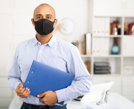 Businessman or office worker are working and wear mask for protect Covid-19 or corona virus disease , healthcare concept