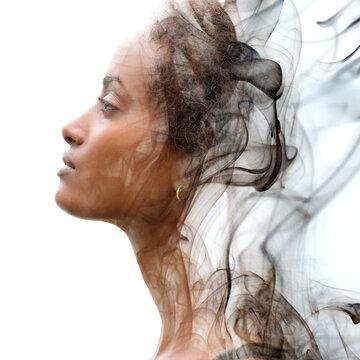 A beautiful artistic double exposure profile portrait