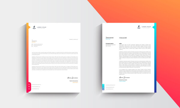 Orange and blue  Modern Business Letterhead Design Template, Abtract Letterhead Design, Letterhead Template,  - vector