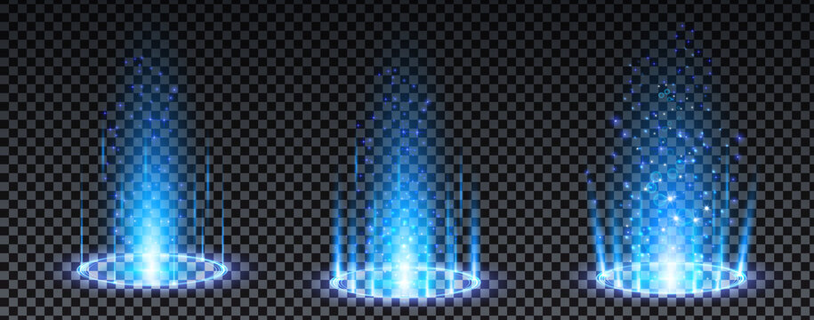 Blue hologram portal. Magic fantasy portal. Magic circle teleport podium with hologram effect. Vector blue glow rays with sparks on transparent background.