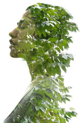 A double exposure portrait young woman profile with her eyes closed against white background and tree leaves