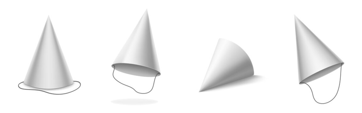 White party hat for birthday, anniversary, christmas celebration. Vector realistic 3d mockup of blank cone head caps for carnival, holidays and festive isolated on white background