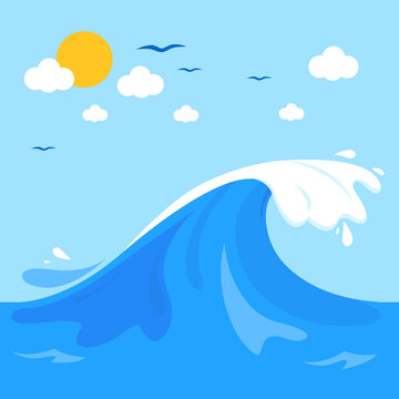 Wave in the ocean. Vector illustration background
