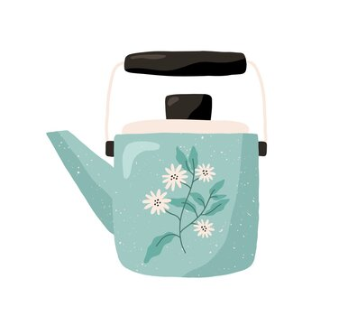 Cute ceramic colored teapot isolated on white background. Tea kettle painted with camomile flowers. Kitchen crockery item. Hand drawn flat vector illustration