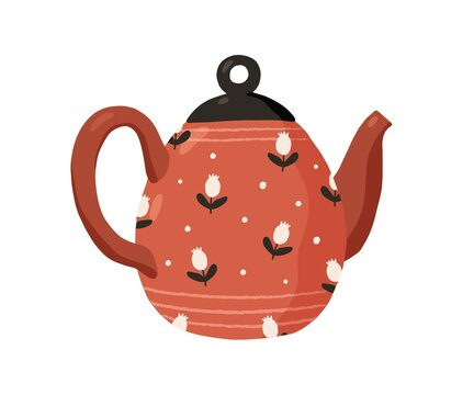 Cute ceramic colored teapot isolated on white background. Red tea kettle painted in dots and flowers. Kitchen crockery item. Hand drawn flat vector illustration