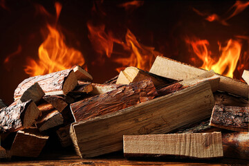Dry wood and burning fire on background. Cozy atmosphere