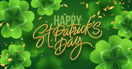 Obraz Golden realistic lettering Happy St. Patricks Day with realistic clover leaves background. Background for poster, banner Happy Patrick. Vector illustration - fototapety do salonu