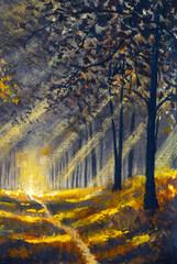Sunlight road in Spring summer sunny forest park. Oil paintings landscape. Fine art.