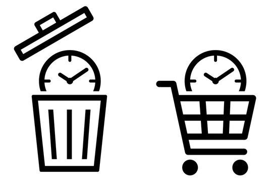 時計にゴミ箱と買い物かご 時間アイコン