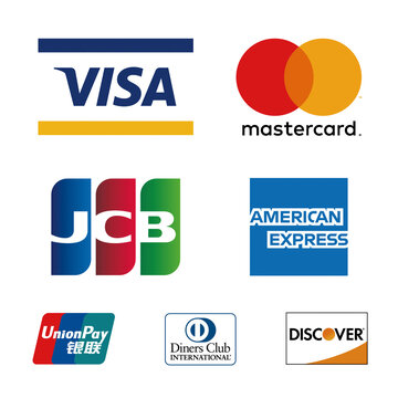 Visa, Mastercard, JCB Union, Payand, AMEX, Diners Club,  Discover, logos printed on white paper. クレジットカードロゴ