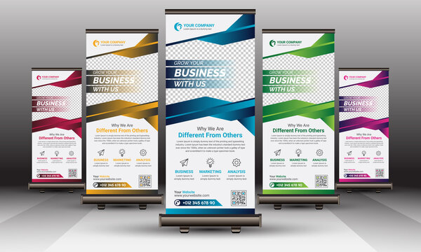 Colorful Corporate Roll Up Banner Standee Vector Template Design Set | Blue, Red, Yellow, Green and Violet Business Roll-Up Banner Layout
