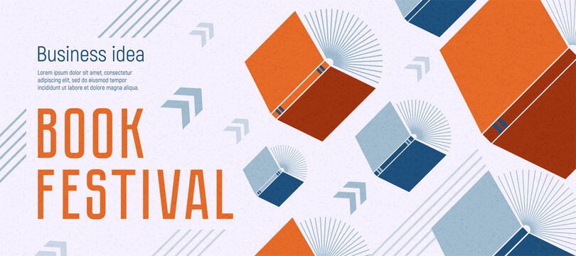 Banner for book festival. Open books flying with arrows. Vector minimalist background with textures. Design template for a library, education theme. Concept of striving for success. Blue and red color
