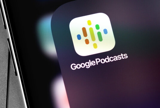 Google Podcasts app on the screen smartphone. Google Podcasts is a podcast application developed by Google. Moscow, Russia - December 5, 2020