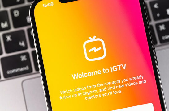 IGTV logo app on the display iPhone. IGTV is a separate video application from Instagram for smartphones on Android and iOS. Moscow, Russia - December 5, 2020