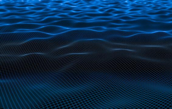 3D Illustration line rendering of waves splashing in the sea background. Wireframe Rendering