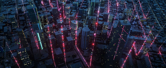 Smart city with particle glowing light connection design
