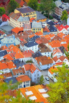 Bergen, Norway summer aerial view with colorful houses