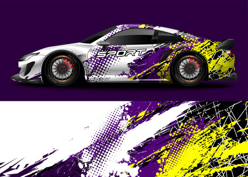Abstract background racing sport car for wrap decal sticker design and vehicle livery
