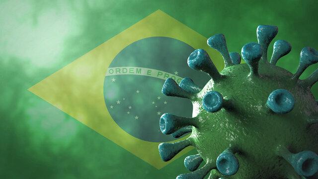 Covid brazil variant, covid-19 virus with brazilian flag