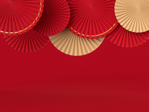Paper fan medallion chinese new year decoration. Concept of Happy Chinese New Year festival background. 3D rendering