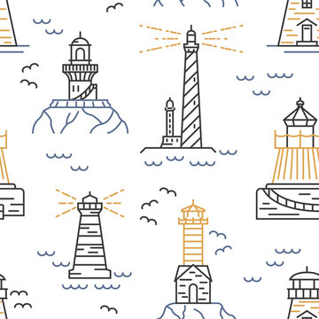 Lighthouses seamless pattern. Thin line vector design