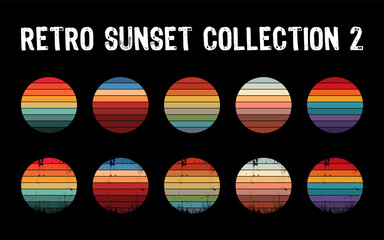 Fototapeta Vintage sunset collection in 70s 80s style. Regular and distressed retro sunset set. Five options with textured versions. Circular gradient background. T shirt design element. Vector illustration,flat obraz