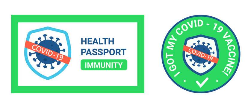 A medical immune PASSPORT that said he was vaccinated with covid-19. The sticker is round for printing. Mass vaccination avoid coronavirus