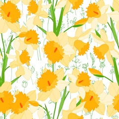Seamless season pattern with yellow daffodils. Endless texture for floral summer design