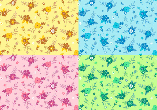 Floral pattern design. Four seamless patterns with beautiful analogous color combinations.