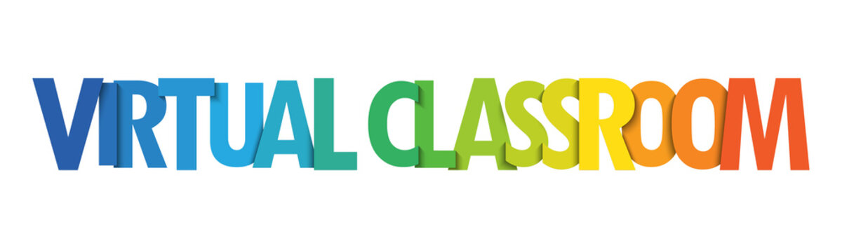 VIRTUAL CLASSROOM colorful vector typography banner isolated on white background
