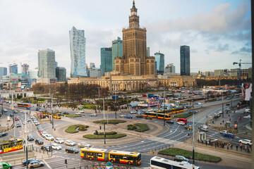 Fototapeta Warsaw, Poland - February 2, 2020: Urban traffic street view in Warsaw, Poland obraz
