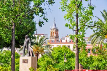 Monument to bullfighter Manolo Vazquez on Seville embankment, Spain