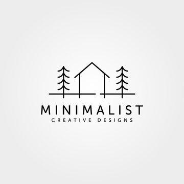 minimalist cabin house logo line art cottage symbol vector illustration design