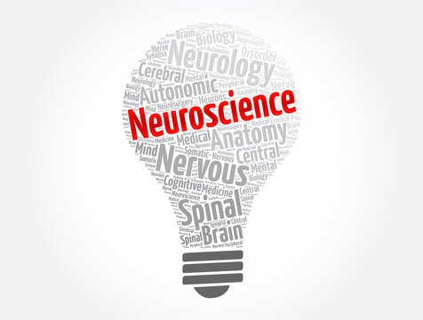 Neuroscience light bulb word cloud collage, concept background