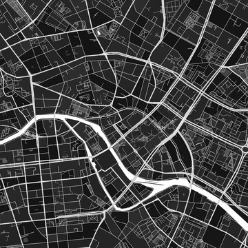 Berlin, Germany dark vector art map