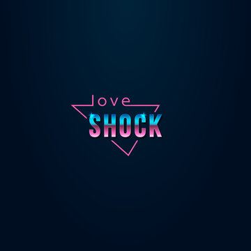 colorful simple vector illustration in retro futurism style of headline signboard text love shock