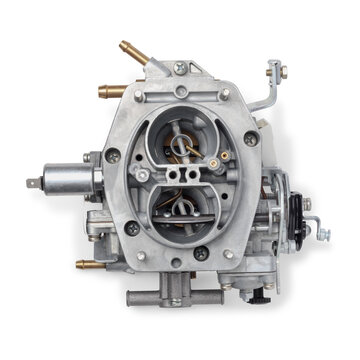 Top view of car carburetor for internal combustion engine for mixing air with a fine spray of liquid fuel, isolated on white background. Automotive parts.