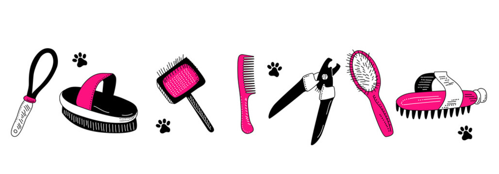 Grooming tools for dog`s fur and nails care.Vector set in doodle style.Glamour vet equipment.Clipping,combing and washing. Online pet shop.Goods for domestic animal.Salon at home.Pink and black