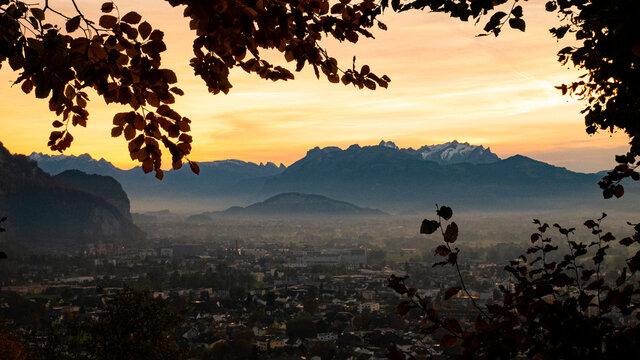 View from Zanzenberg over the Vorarlberg Reinthal to Switzerland