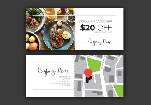 Restaurant Discount Voucher Card Layout with Photo and Map Placeholders