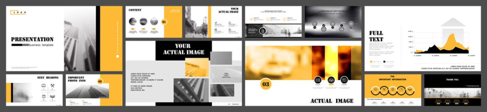 Business presentation design yellow and black infographic elements on white background.Buildings and architecture, city Vector slide presentation of business project and marketing, monitor, web design