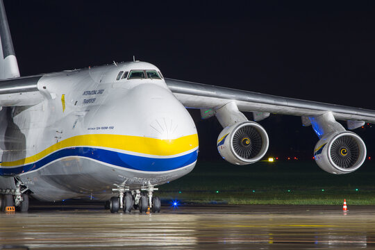 Antonov AN-124 cargo jet sitting on the airport ramp